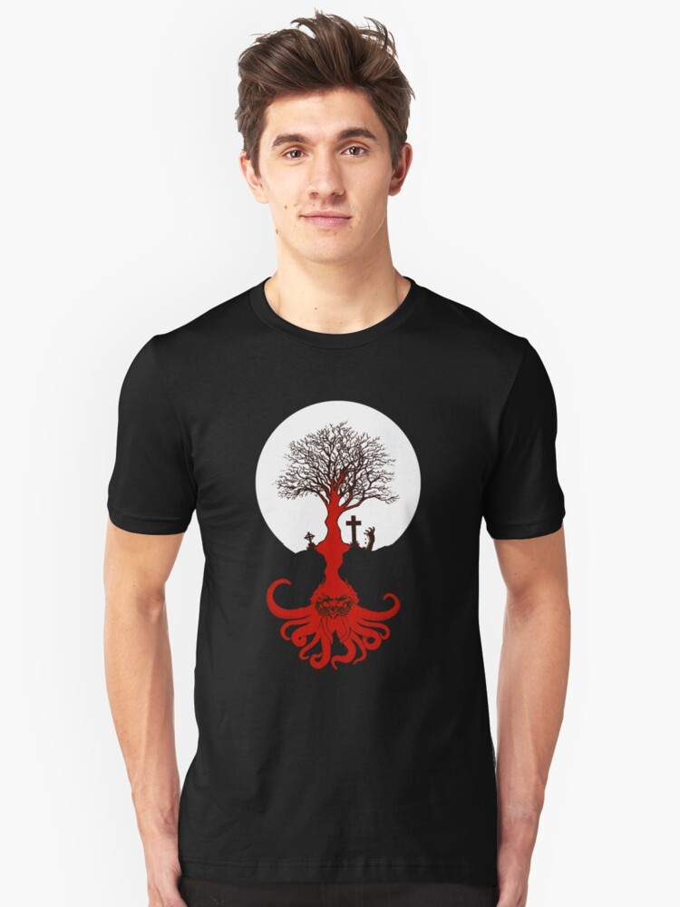 Cthulhu Is Everywhere- Ancient Lovecraft Mythos Tree Unisex T-Shirt Front