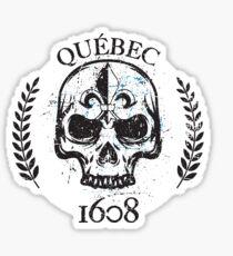 Quebec Skull and Fleur de Lys grunge style 1608 Québec PQ Qc Patriote Métal Souverainiste Sticker
