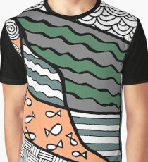 Doodle Art Drawing - Fishes and Waves - Olive Green Peach Graphic T-Shirt
