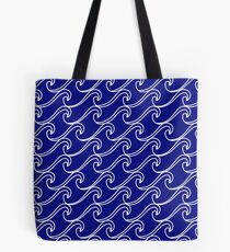 Rough Sea Pattern - white on blue Tote Bag