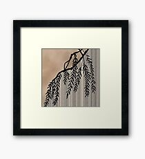 Pinstripe, Willow, and clouds Framed Print