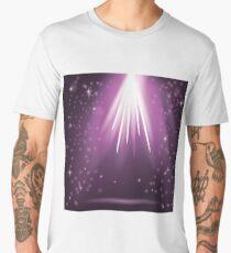Purple Rays of Magic Lights on Blurred Starry Background. Night Sky. Men's Premium T-Shirt