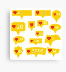 Set of Yellow Icons with Red Heart Isolated on White Background Canvas Print