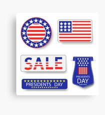 Presidents Day Icons Isolated on White Background Canvas Print