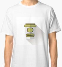 Paper Coffee Cup Isolated on White Background Long Shadow Classic T-Shirt