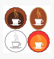 Cup of Coffee Icons Isolated on White Background Photographic Print