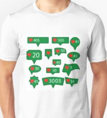 Set of Green Icons with Red Heart Isolated on White Background T-Shirt