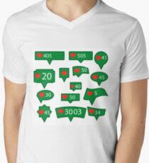 Set of Green Icons with Red Heart Isolated on White Background Men's V-Neck T-Shirt