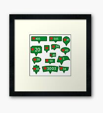 Set of Green Icons with Red Heart Isolated on White Background Framed Print