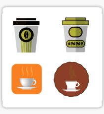 Cup of Coffee Icons Isolated on White Background Sticker