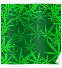 Green Cannabis Leaves Background. Green Marijuana Pattern Poster