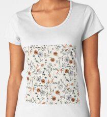 Orange Flower Pattern Women's Premium T-Shirt