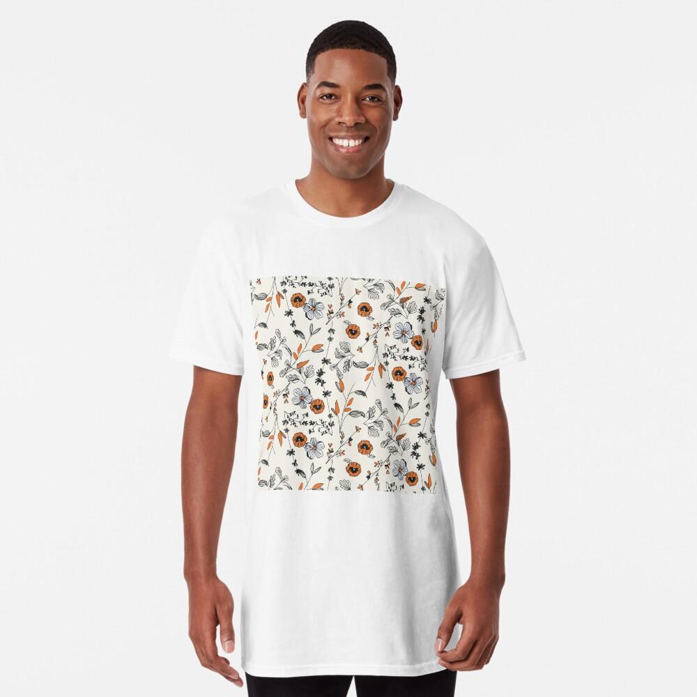 Orange Flower Pattern Long T-Shirt