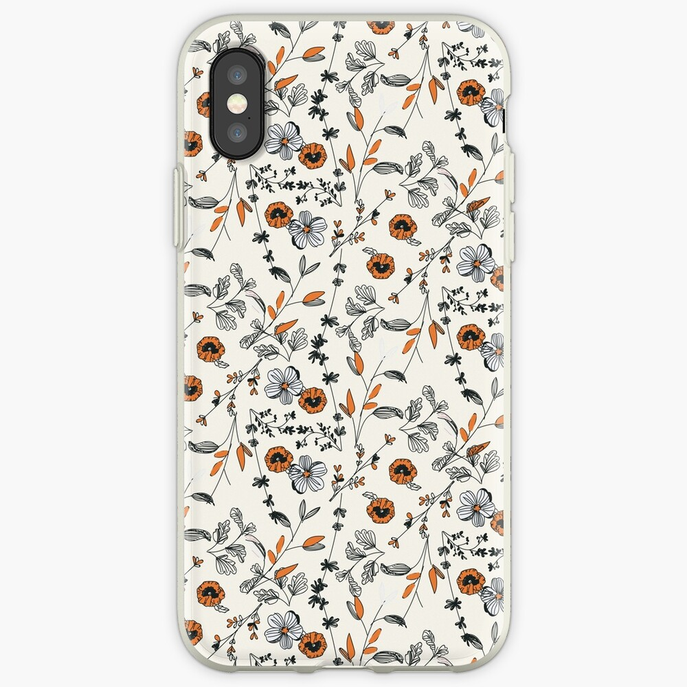 Orange Flower Pattern iPhone Cases & Covers
