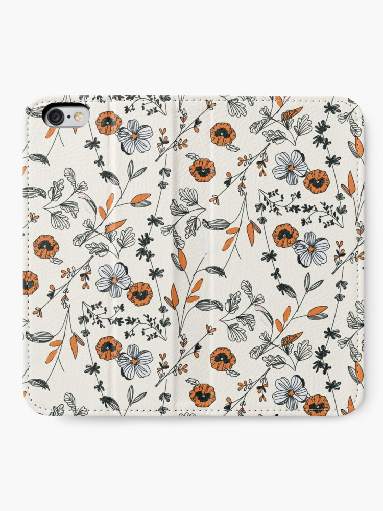 Alternate view of Orange Flower Pattern iPhone Wallet