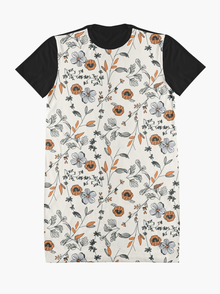 Alternate view of Orange Flower Pattern Graphic T-Shirt Dress