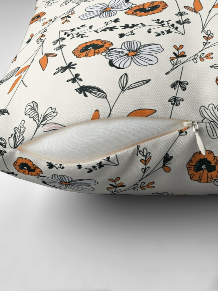 Alternate view of Orange Flower Pattern Throw Pillow