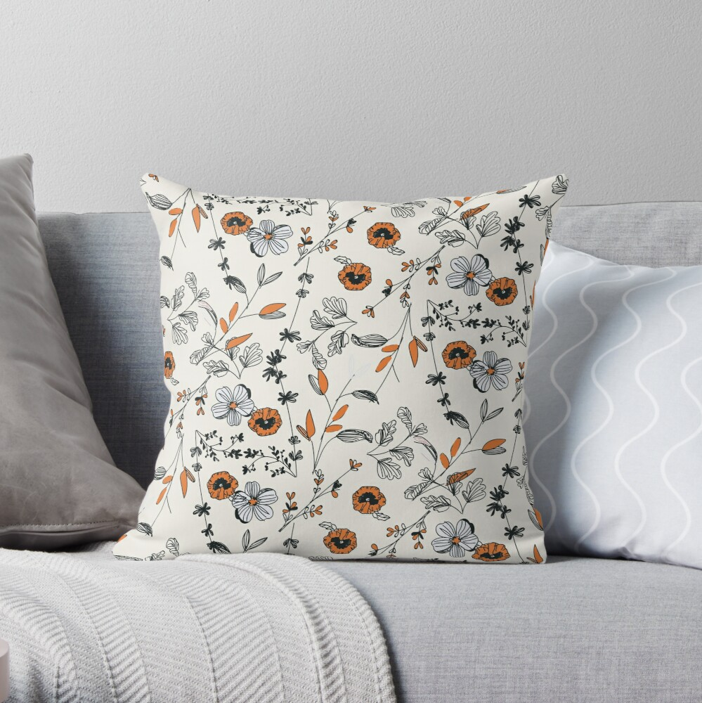 Orange Flower Pattern Throw Pillow