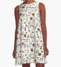 Orange Flower Pattern A-Line Dress