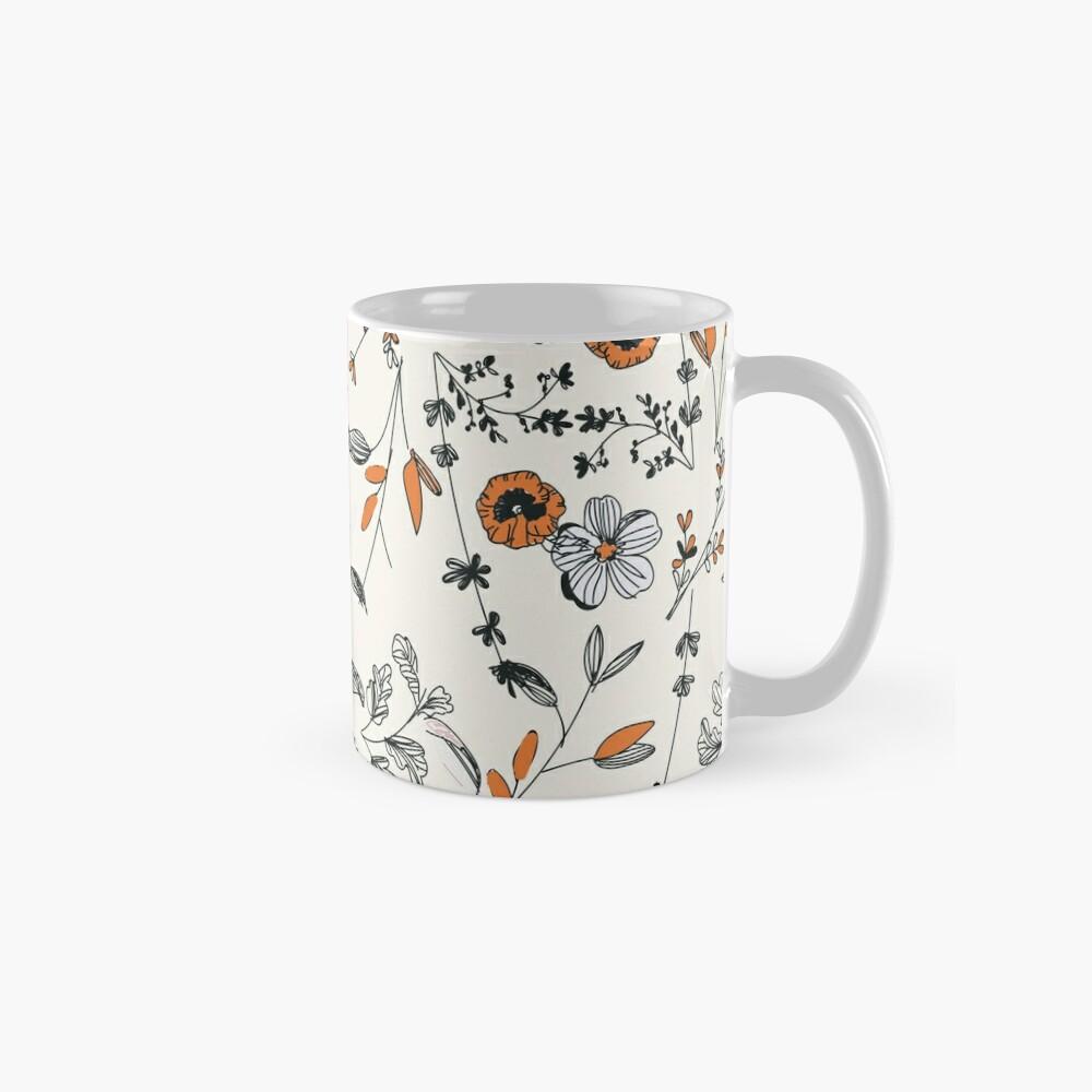 Orange Flower Pattern Mug