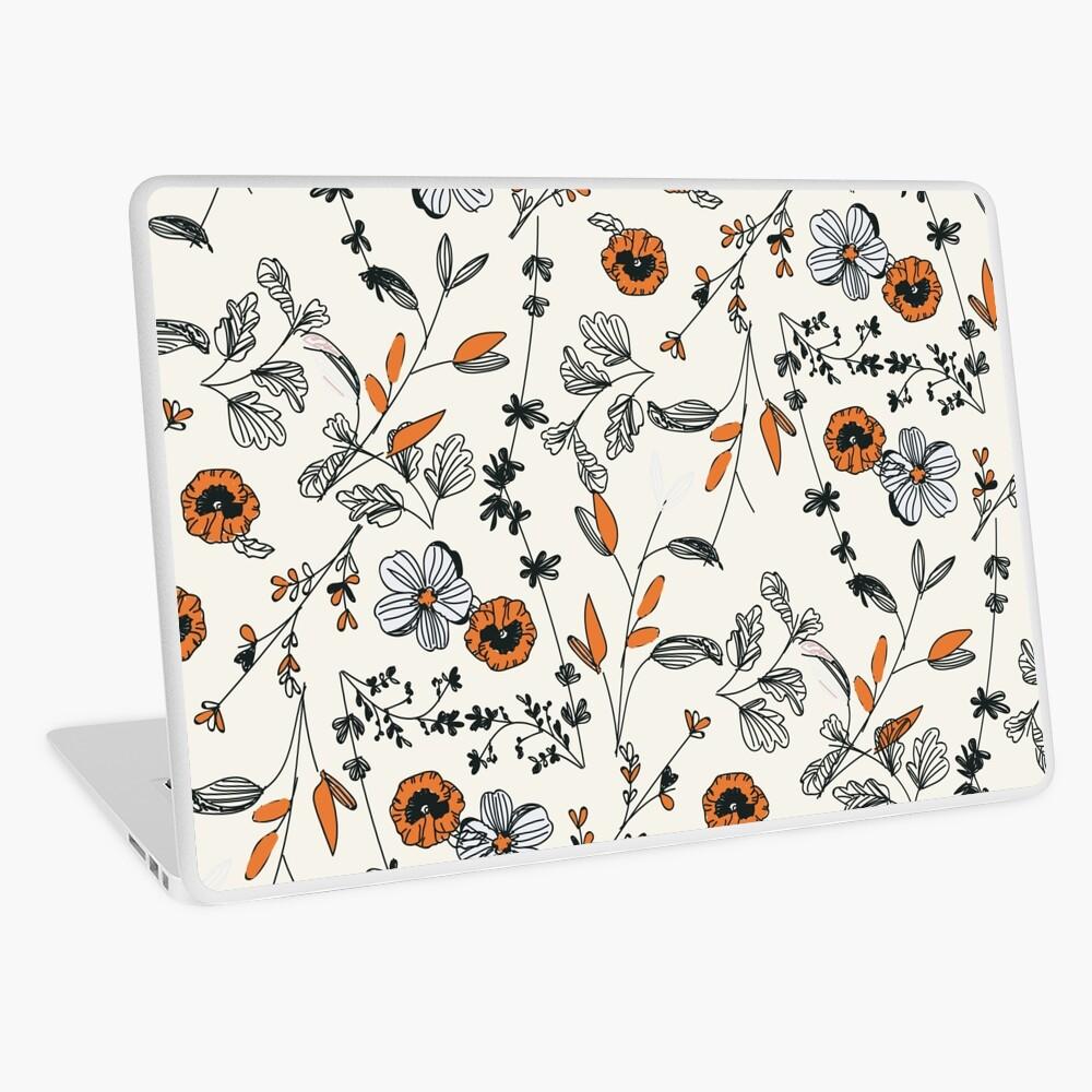 Orange Flower Pattern Laptop Skin