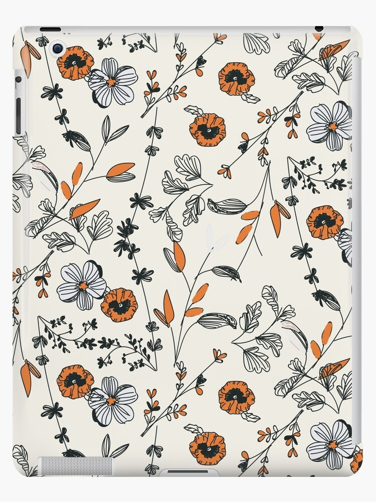 Orange Flower Pattern by Alja Horvat