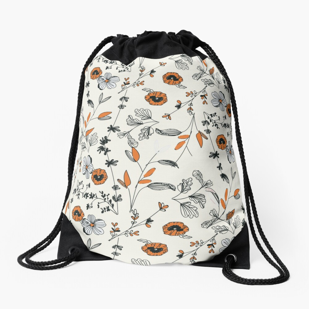 Orange Flower Pattern Drawstring Bag