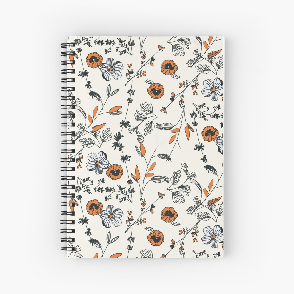 Orange Flower Pattern Spiral Notebook