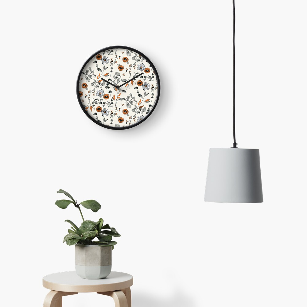 Orange Flower Pattern Clock