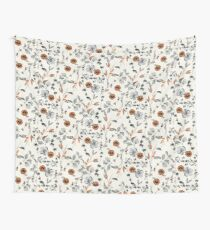 Orange Flower Pattern Wall Tapestry