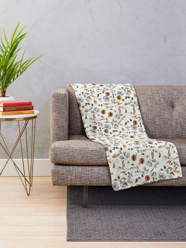 Alternate view of Orange Flower Pattern Throw Blanket