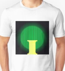 Yellow Marble Greek Column on Dark Green Wave Background. Ancient Single Pillar T-Shirt