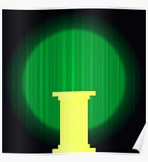 Yellow Marble Greek Column on Dark Green Wave Background. Ancient Single Pillar Poster
