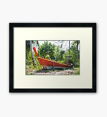 Jungle and boat wreck Framed Print