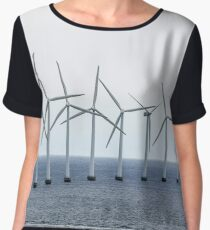 The boat swims by the wind power stations in the sea Women's Chiffon Top