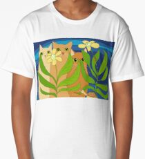 Three Cats, Two Flowers, One Snail and A Ladybug Long T-Shirt