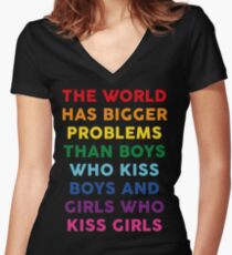 The World Has Bigger Problems  Women's Fitted V-Neck T-Shirt