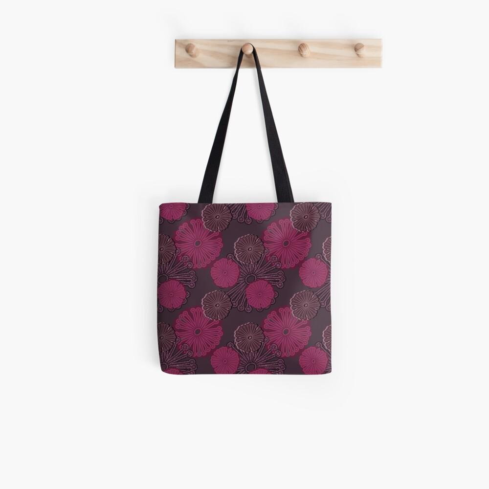 Fuchsia Flower Pattern Tote Bag