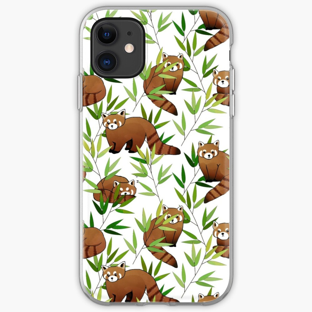 Red Panda & Bamboo Leaves Pattern iPhone Soft Case
