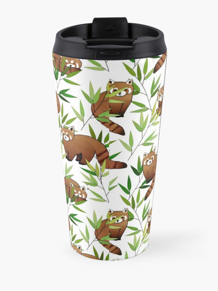 Alternate view of Red Panda & Bamboo Leaves Pattern Travel Mug