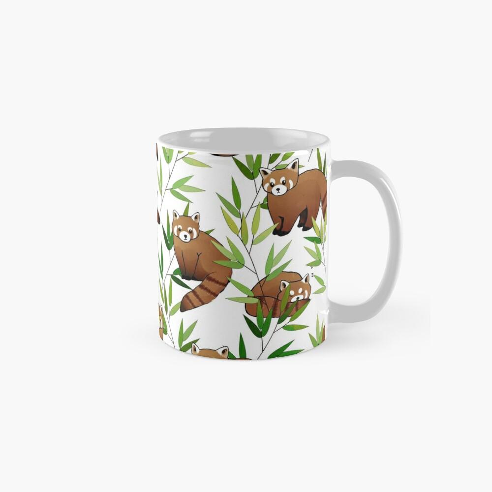 Red Panda & Bamboo Leaves Pattern Mug
