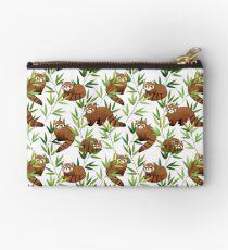 Red Panda & Bamboo Leaves Pattern Zipper Pouch