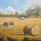 Hay Bales at Turvey by Geraldine M Leahy