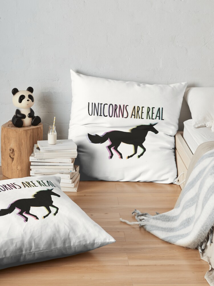 Alternate view of Unicorns are Real Rainbow Version Floor Pillow