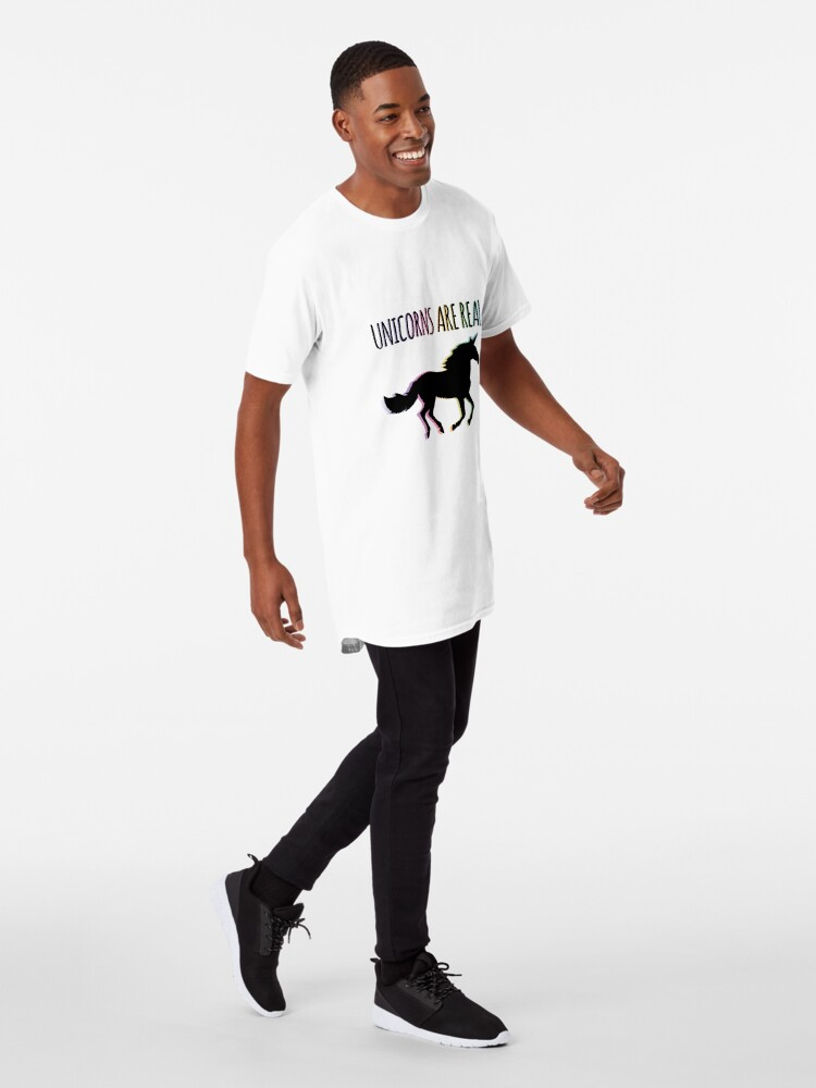 Alternate view of Unicorns are Real Rainbow Version Long T-Shirt