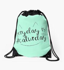 Everyday is #Caturday Drawstring Bag