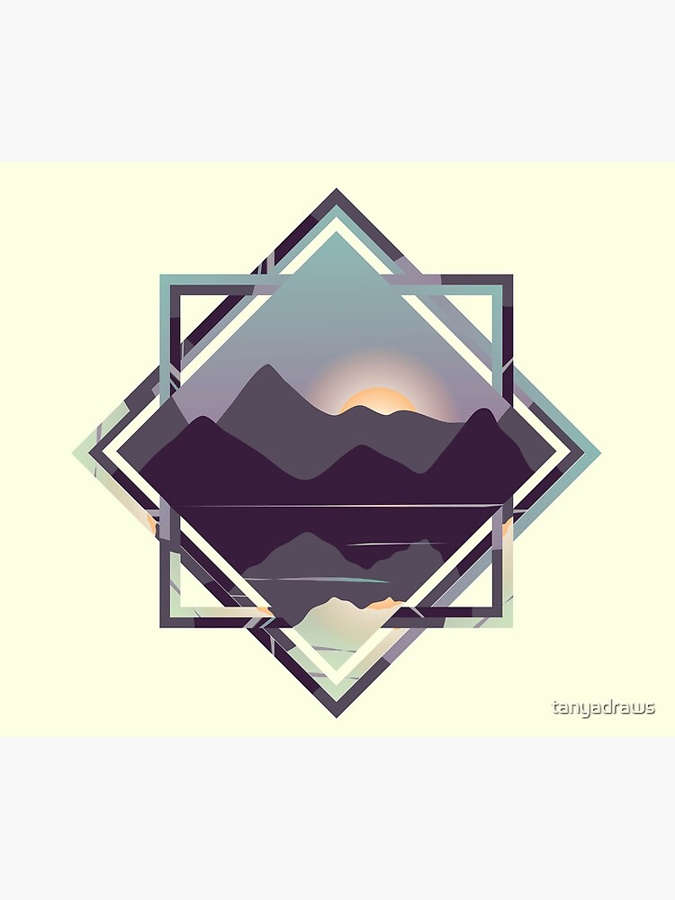 Reflective Lake & Mountains Sunset by tanyadraws