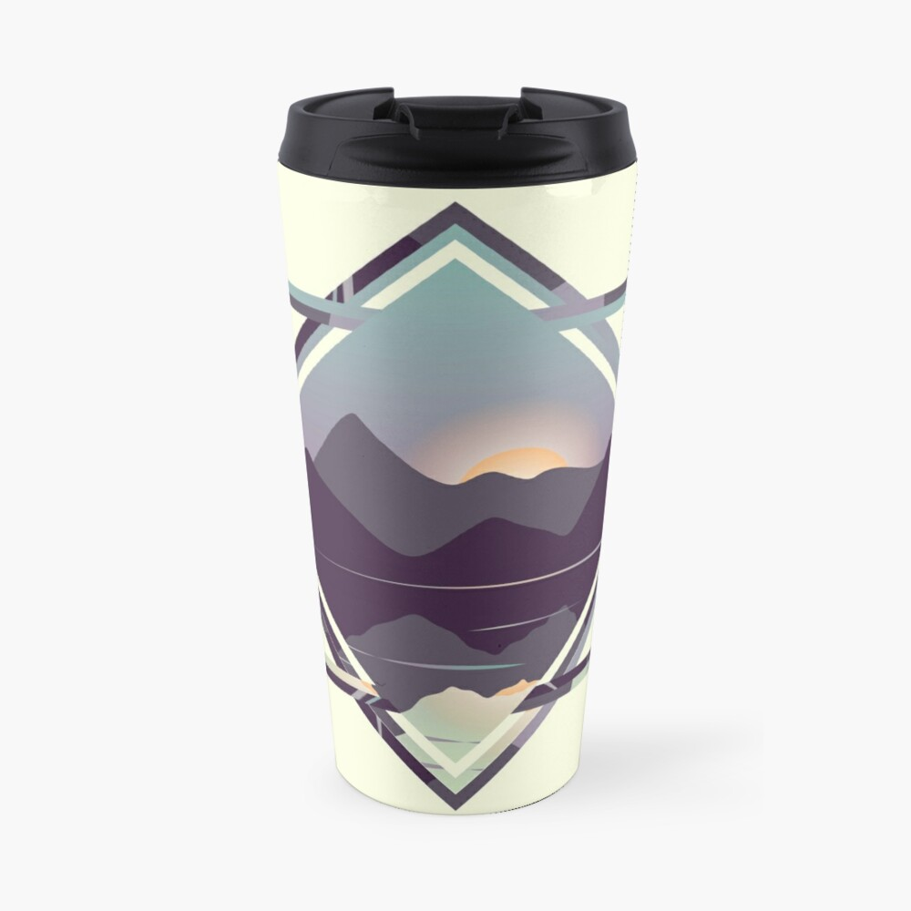 Reflective Lake & Mountains Sunset Travel Mug
