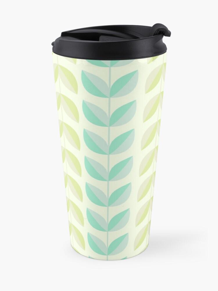 Alternate view of Spring Mint Green Vines & Leaves Pattern Travel Mug