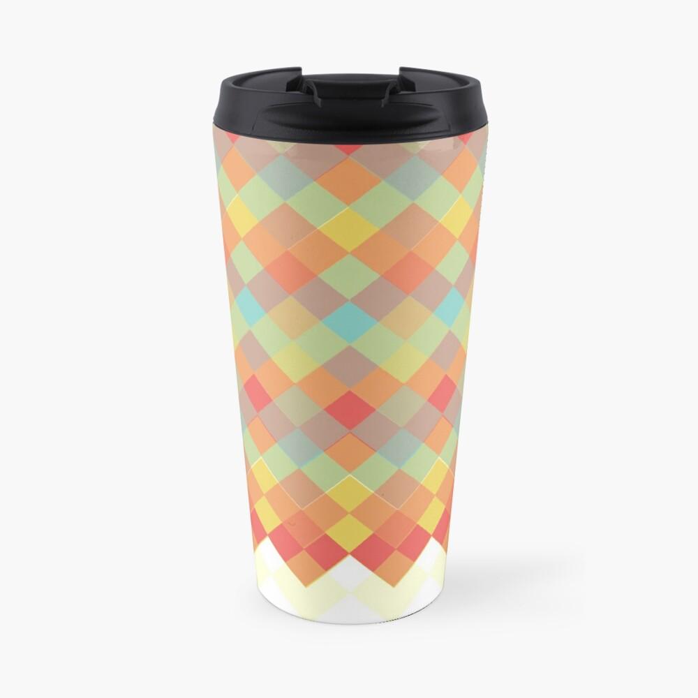 Tri-Colour Geometric Pattern Travel Mug